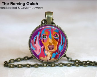 DACHSHUND POP ART Pendant • Sausage Dog • Pop Art • Pink Pop Art • Pink Dog • Pet Jewellery • Gift Under 20 • Made in Australia (P1518)