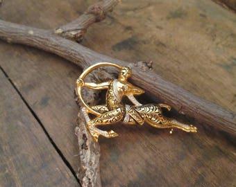 vintage damascene faun (being half-man, half-goat) mythological brooch