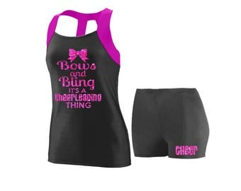 Cheer Practice Set Bows and Bling PINK TANK