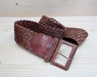 Vintage Braided Leather Belt, Leather and Brass Buckle Belt, Made In Holland, Belly Belt Amsterdam, Brown Genuine Leather Belt, Wide Belt