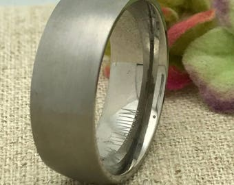8mm Titanium Ring, Personalized Custom Engraved Wedding Ring Classic Dome Wedding Ring, Brushed Finish Ring