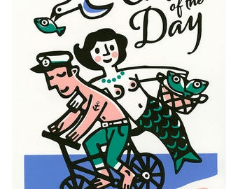 Catch of the Day small poster by Mike Levy. 300mm x 400mm mermaid/fish/couple/cycle/illustration/print/30x40cm