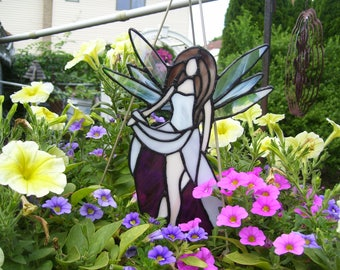 Stained Glass Pot Sitter Fairy  Sun catcher