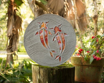 Koi Fish Goldfish Stepping Stone Made of Stained Glass and Concrete Perfect for Your Garden Patio or Back Yard Fish Pond or Pool Path #758