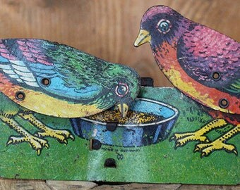 Tin Lithograph Mechanical Toy Two Birds Feeding Lever Motion Tin Penny