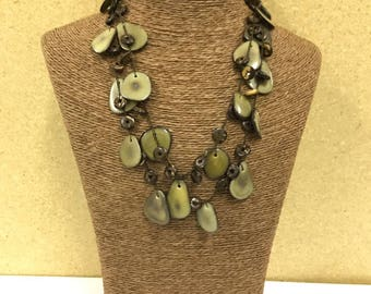 Tagua nut jewelry- bead necklace. Eco Friendly- Olive Green