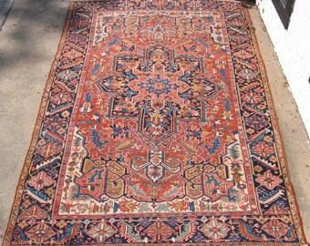 Antique Persian Heriz rug hand knotted wool Iran ca.1920 7.5x11.8 #10-9809