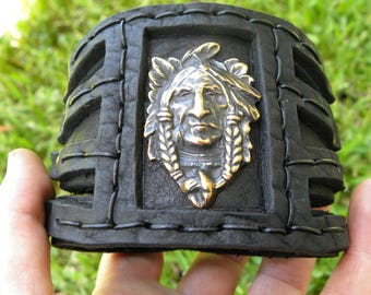 Buffalo Bison Leather cuff thick bracelet Brass metal Native Indian Navajo  Head Ketoh 3 inch wide customize wrist size bracelet cuff