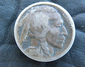 1920  US circulated  authentic vintage Buffalo Indian Nickel coin full date A128