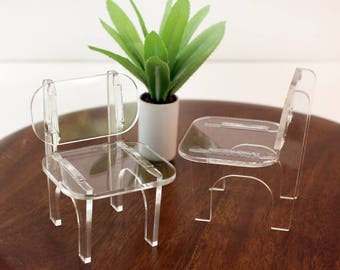 Set of 2 Miniature Modern Lucite Chairs - 1:12 scale