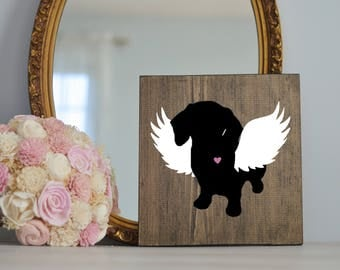 Dachshund Angel Wing Silhouette, Remembrance Sign, Memorial, Loss of Dog, Dachshund Art, Dachshund Portraits, Wiener Dog