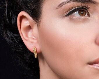 SALE15% Boho Earrings, Unique Earrings, Wife Gift, Gold Stud Earrings, Small Earrings, Art Earrings, Gold Post Earrings, Bohemian Gold