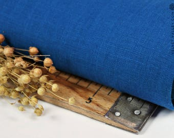 Softened royal blue linen fabric -Bright blue linen- Stonewashed blue fabric for clothing, bedding