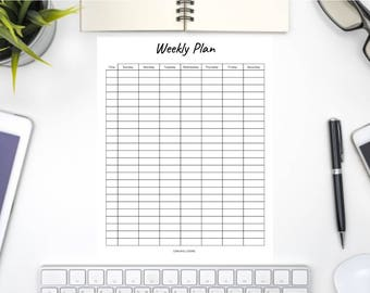 Weekly Plan Template // Daily Planner // Planner Insert // Printable Template // Weekly Printable // Personal Planner