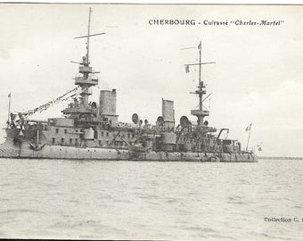 French WW1 Postcard Of The Battle Ship Charles Martel
