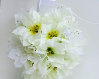 Poinsettia bridesmaid pomander, winter wedding, rustic Christmas wedding, holiday wedding, keepsake pomander, aisle decoration, boho flowers