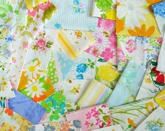 Scrap Pack 02. 12 oz.  MULTI Color. Vintage Sheet Scrap Fabric Bundle. Stash Builder. Floral. Upcycle. Destash.