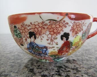 Vintage Delicate Bone China Tea Cup, Japanese Geisha Girls, Asian Decor, 1940s, Hand Painted