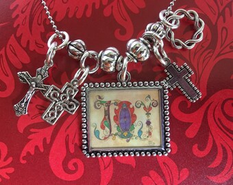 """Original art- silver JOY pendant on 29"""" chain with cross charms and crown of thorns charm"""