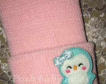 NEWBORN Hospital Hat. Newborn Hospital Beanie. Baby Girl Hat with CUTE Blue PENGUIN w/Bow. Great Gift Super Cute Perfect Gender Reveal Prop!