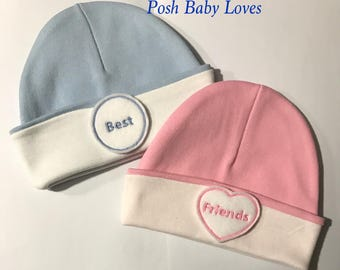 Baby Hats! Personalized with Best Friends or Names. You Choose Gender. Great Gender Reveal Prop. Baby Shower Gift, Photo Prop and More.