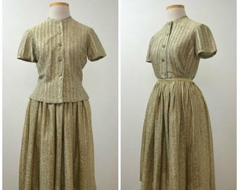 35% off Storewide SALE Shine | Vintage 60s Gold Lamé Button-Up Top & Full Skirt Set | 1960s Metallic Stripe Dress