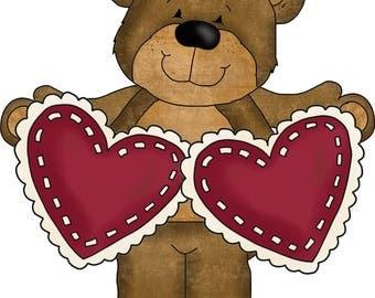 E-Pattern Primitive Valentine Cross Stitch Pattern 07