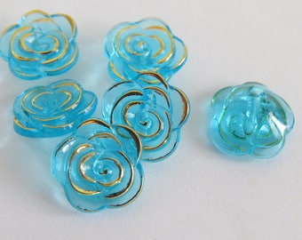 Turquoise and gold vintage style flower button
