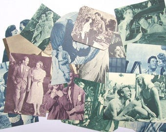 1950s film couples: 30 die cut style embellishments and pictures. Vintage paper ephemera for scrapbooks, collage, journals. EP613