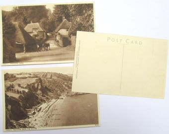 6 vintage postcards of Torquay, Devon, UK: unused sepia postcards. Collectable or for scrapbooks, travel journal, craft. PC156