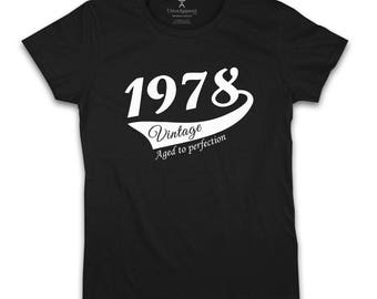 40th Birthday Gift For Woman 1978 Vintage  T shirt present for fortieth birthday