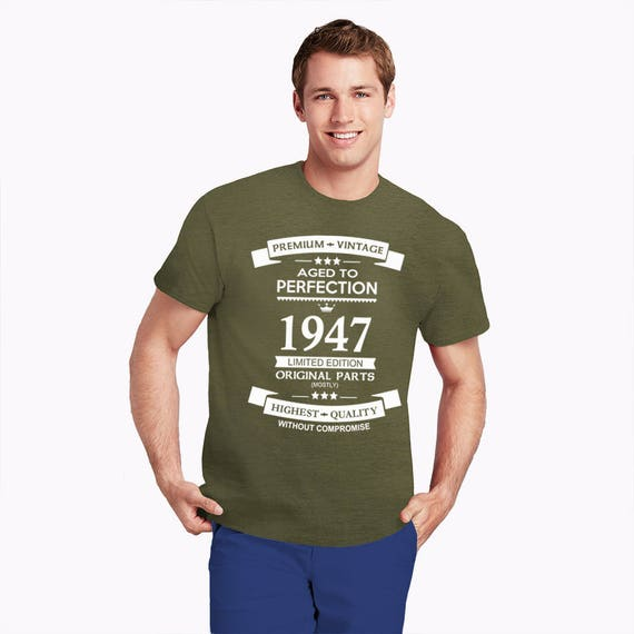 70th birthday gift funny crew neck t-shirt, Premium Vintage, Limited Edition, Aged to Perfection 1947, Sizes S-2XL Other colours available