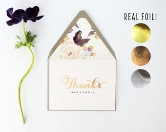 thank you cards / gold foil wedding thank you cards / rose gold foil / silver foil / stationery / card set / personalized / lined envelopes