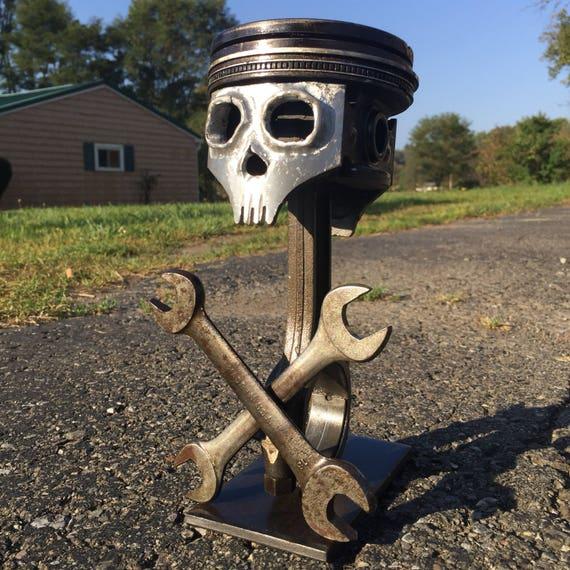 Piston Skull And Crossbones Welded Scrap Metal Art Sculpture