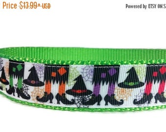 """SALE Witches Halloween Dog Collar Green Nylon * 1"""" Width Only * Buckle Collar * Martingale Collar * Chain Martingale"""