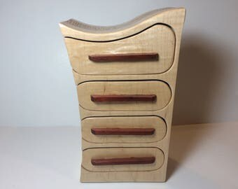 Handmade Curly Maple and Cedar Wood Bandsaw Jewelry Keepsake Box