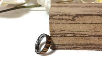 Handmade Exotic ZebraWood And Stainless Steel Wedding Ring, Promise Ring, Anniversary