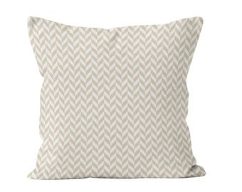 Neutral Herringbone Throw Pillow Cover in Canvas Ready to Ship 18x18, Classic Beige Cushion Cover, Gift for Classic Decor Gift _RTS