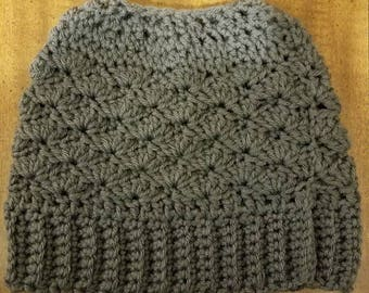 Shell Stitch Messy Bun Hat