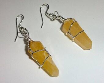 1 Pair (2 earrings) 100% Natural A+ Quality Citrine Point Crystal Healing Gemstone Earrings