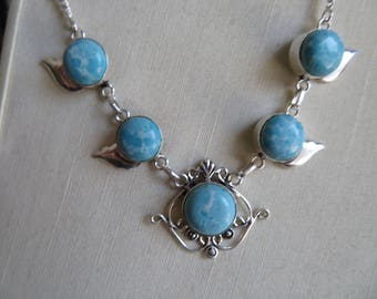 Caribbean Larimar Gemstone .925 Sterling Silver Necklace 16 Inches Long, Weight 20.2 Grams