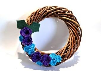 Felt flower Christmas Wreath / Wicker wreath  / Handmade decorations / Purple and turquoise Christmas / Xmas wreath / Door wreath