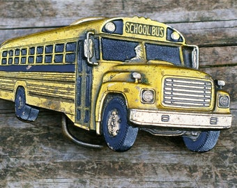 Vintage School Bus Belt Buckle by the The Great American Buckle Co.