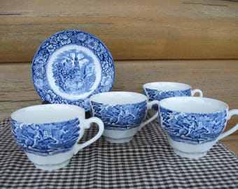 """4 Sets Staffordshire """"Liberty Blue"""" England Cups and Saucers"""