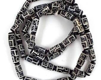 Vintage Bone Bead Strand- Carved Bone Tube Beads - Destash Beads - Black Dyed Bone Beads - African Beads - Natural Beads - Barrel Beads