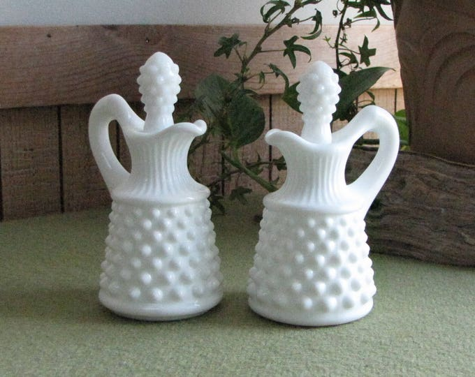 Fenton Milk Glass Hobnail Cruets Two (2) White Vinegar and Oil Jars Vintage Kitchens