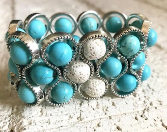 READY TO SHIP * Aromatherapy Bracelet * Oil Diffuser Bracelet * Essential Oil Diffuser * Stretch Bracelet * Lava Stone * Turquoise Bracelet