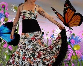 Long dress in stretch mesh 'Garden butterflies...'