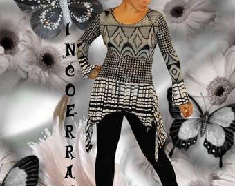 Asymmetric tunic, tunic, Bohemian, ethnic 'Black and white life...'