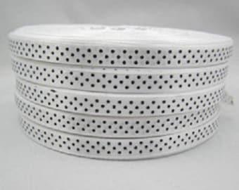 10mm white with black polka dots satin ribbon.